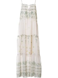 Sea Floral Print Long Dress Nude And Neutrals
