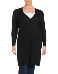 Lord And Taylor Plus Merino Wool Duster Cardigan Black