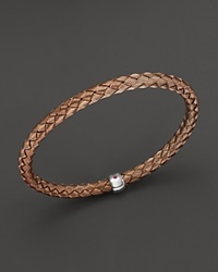 Roberto Coin Sterling Silver Light Brown Woven Bangle