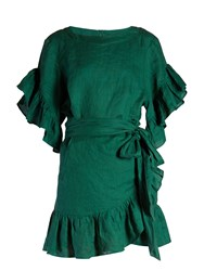 Etoile Isabel Marant Delicia Ruffled Mini Dress Green