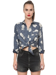 Cycle Pineapple Printed Cotton Denim Shirt Blue