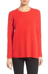 Nordstrom Women's Collection Chevron Cashmere Sweater Orange Clay