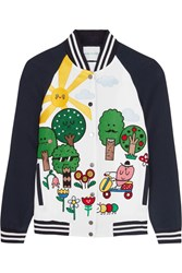 Mira Mikati Happy Forest Appliqued Crepe Bomber Jacket Navy