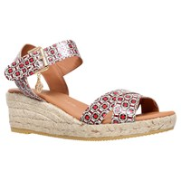 Kurt Geiger Libby Espadrille Wedge Sandals Red Multi Leather