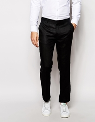 Asos Slim Fit Cropped Suit Trousers In 100 Linen Black