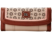 The Sak Iris Flap Wallet Shitake Floral Perf Wallet Handbags Tan