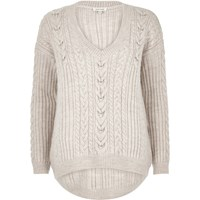 River Island Womens Beige Cable Knit Jumper