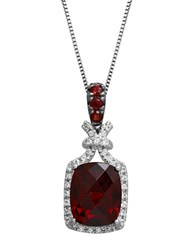 Lord And Taylor Sterling Silver Necklace With Garnet White Topaz Pendant Garnet Silver