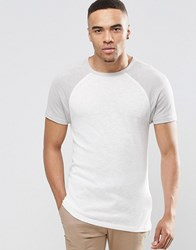 Asos Longline Muscle T Shirt With Tonal Raglan Sleeves In Knitted Fabric Offwhitegrey