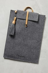 Anthropologie Felt And Leather Tech Case Grey