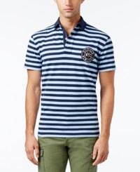 Tommy Hilfiger Men's William Striped Polo Placid Blue Pt Navy Blazer Pt