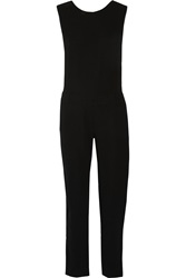 Bailey 44 Mental Agility Leather Trimmed Stretch Crepe Jumpsuit Black