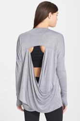 Zella 'Athena' Open Back Drape Cardigan Gray
