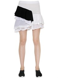 Y 3 Ruffled Cotton Pique Skirt