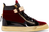 Giuseppe Zanotti Black And Red Velvet London High Top Sneakers