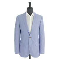 J.Crew Ludlow Suit Jacket In Engineer Striped Cotton Summer Blue