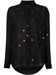 Anthony Vaccarello Metal Star Applique Shirt Black