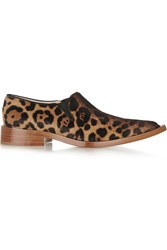 Victoria Beckham Leopard Print Calf Hair Point Toe Flats Animal Print