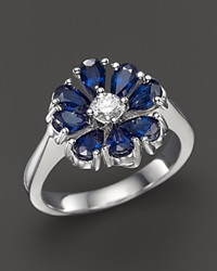 Bloomingdale's Sapphire And Diamond Flower Ring In 14K White Gold Blue