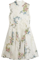 Topshop Unique Hambledon Floral Print Silk Georgette Dress Ivory