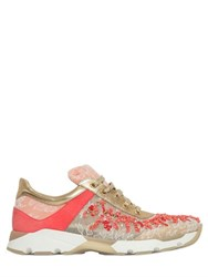 Rene Caovilla 20Mm Beaded Lace And Mesh Sneakers