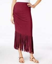 Inc International Concepts Petite Asymmetrical Fringe Maxi Skirt Only At Macy's Glazed Berry