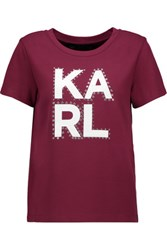 Karl Lagerfeld Noa Embellished Stretch Jersey T Shirt Plum