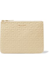 Comme Des Garcons Embossed Leather Pouch Off White