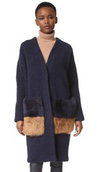 Anne Vest Brisbane Cardigan With Shearling Pockets Dark Blue Camel