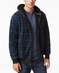 Weatherproof Vintage Men's Big And Tall Plaid Sherpa Lined Hoodie Only At Macy's Blue