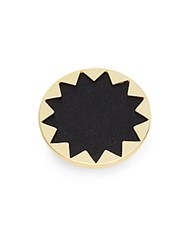 House Of Harlow Core Leather Starburst Ring Gold Black