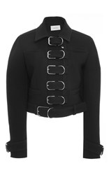Carven Double Wool Pique Buckle Jacket Black