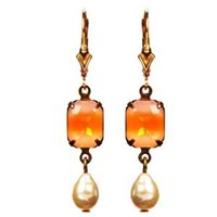 Passionate About Vintage Georgian Rhinestone Earrings In Orange