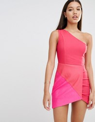 Rare London Suedette Panel Bodycon Dress Pink Multi