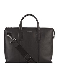 Boss Grained Leather Briefcase Unisex Black