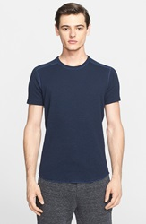 Wings Horns Ribbed Slub Cotton T Shirt Navy