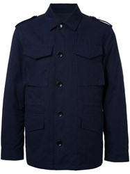 Kent And Curwen Detaachable Quilt Lined Military Jacket Blue