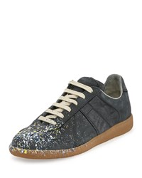 Maison Martin Margiela Paint Splatter Leather Sneaker Black Women's