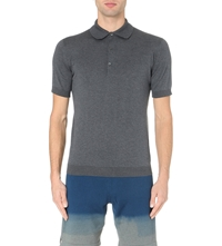 John Smedley Adrian Knitted Polo Jumper Charcoal