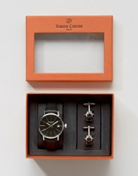 Simon Carter Leather Watch And Robot Cufflinks Gift Set Grey Black
