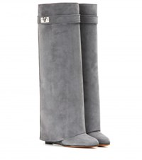 Givenchy Pant Suede Wedge Boots Grey