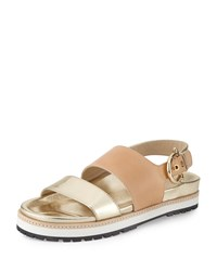 Etienne Aigner Annie Leather Slingback Sandal Pale Gold Natural