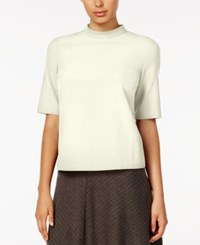 Kensie Short Sleeve Mock Turtleneck Top Cream