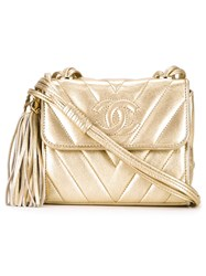 Chanel Vintage Vertical Stitch Mini Shoulder Bag Metallic