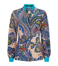Etro Printed Silk Kaftan Shirt Female Pink