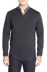 Men's Thomas Dean Regular Fit V Neck Merino Wool Sweater Charcoal