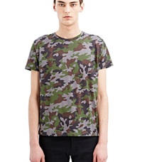 Saint Laurent Printed Crew Neck T Shirt Khaki