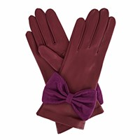 Gizelle Renee Josephine Purple Leather Gloves With Plum Cashmere Pink Purple