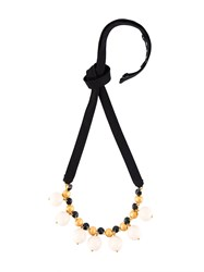 Marni 'Strass' Ribbon Necklace White