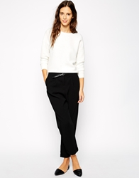 Pull And Bear Pullandbear Crepe Tailored Trousers Black